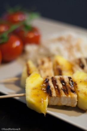 brochette espadon ananas