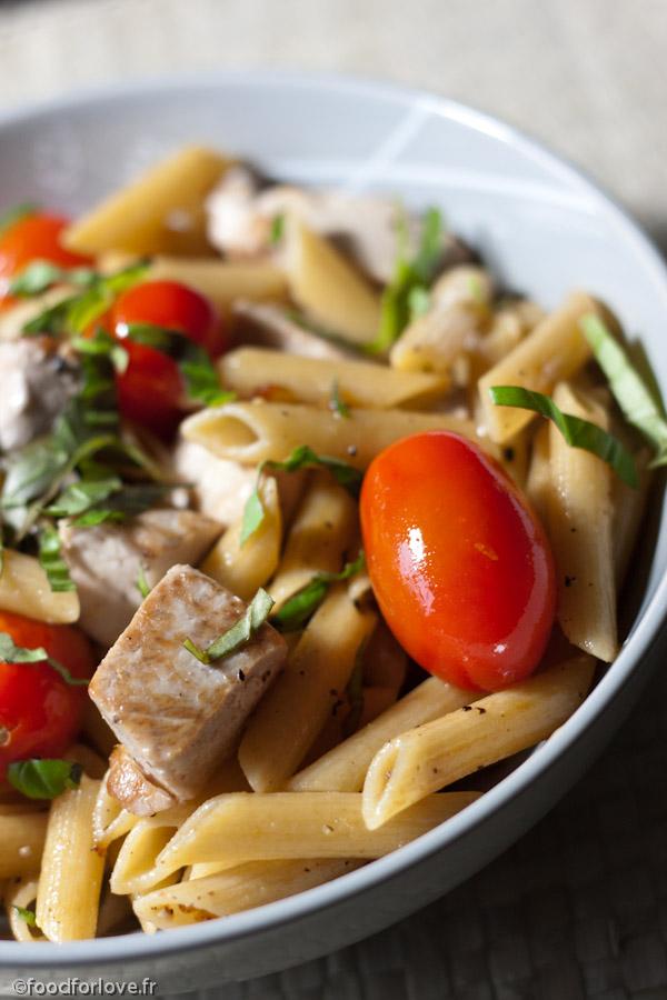 Penne Au Thon Frais Et Tomates Cerise Food For Love - Comment cuisiner le thon frais