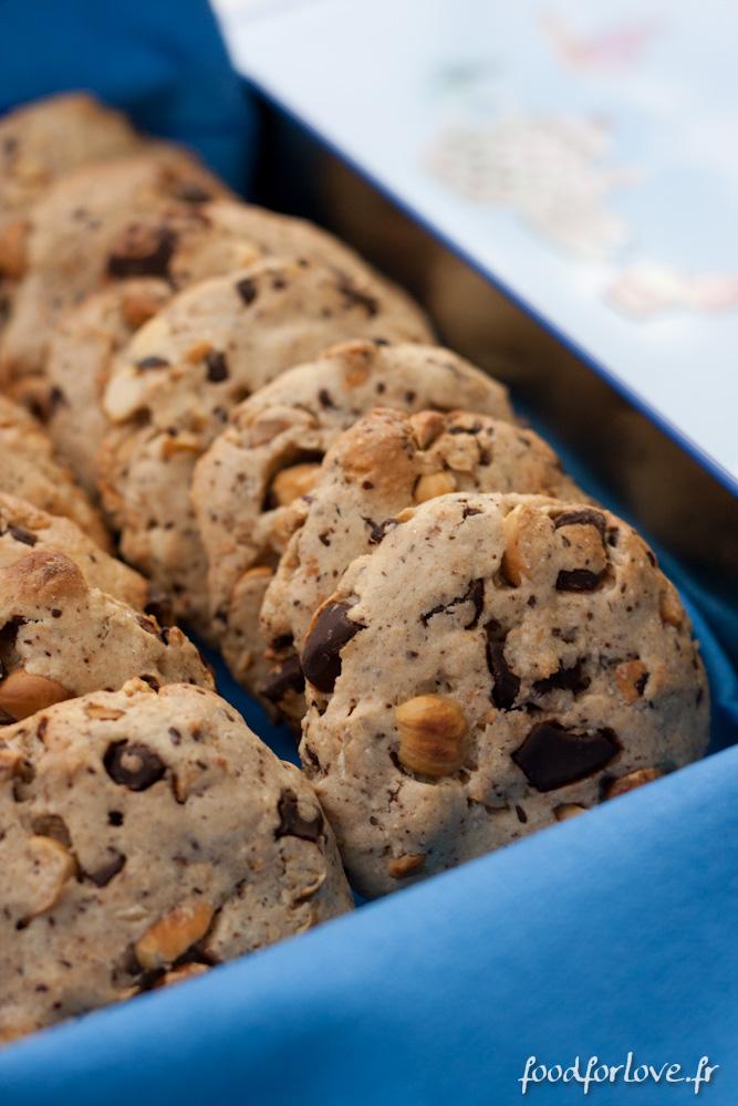 cookies au chocolat noir noisettes grill es et fleur de sel food for love. Black Bedroom Furniture Sets. Home Design Ideas