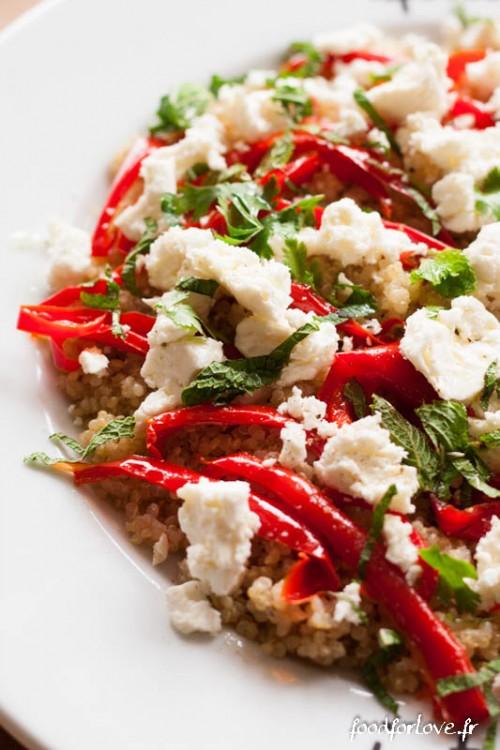 salade quinoa poivrons rotis feta menthe coriandre-3