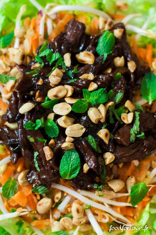 salade boeuf saute aux cacahuetes