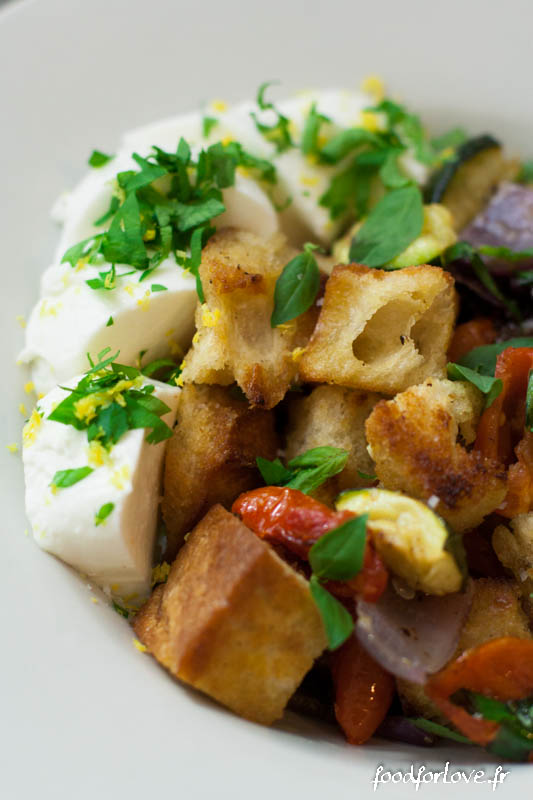 panzanella legumes rotis mozza gremolata