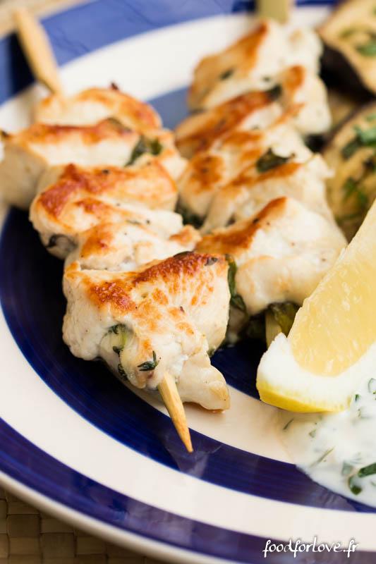 brochettes poulet thym basilic