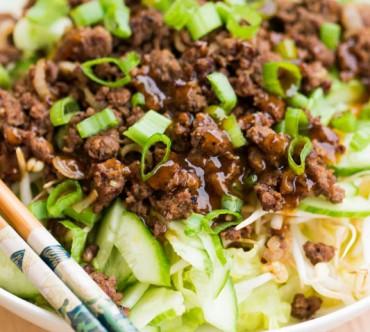 Salade au Boeuf Sauté, Soja, Gingembre et Curry