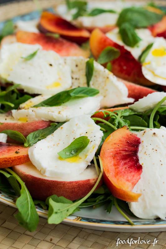salade peches mozza basilic-3