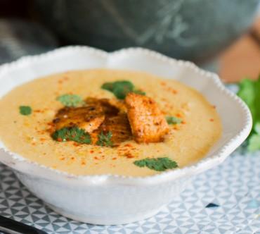 Soupe au Maïs, Poulet aux Epices et Coriandre