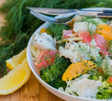 Salade au Maquereau, Fenouil, Brocoli, Agrumes et Gomasio