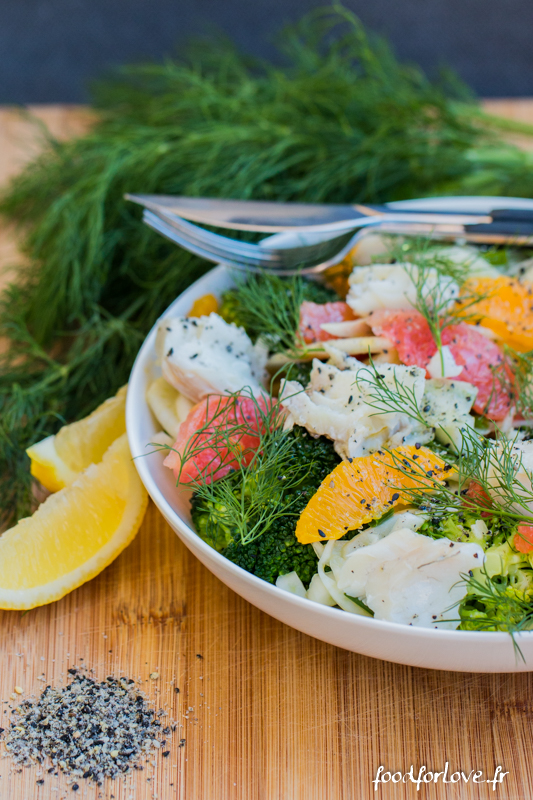 salade fenouil maquereau brocoli agrumes gomasio