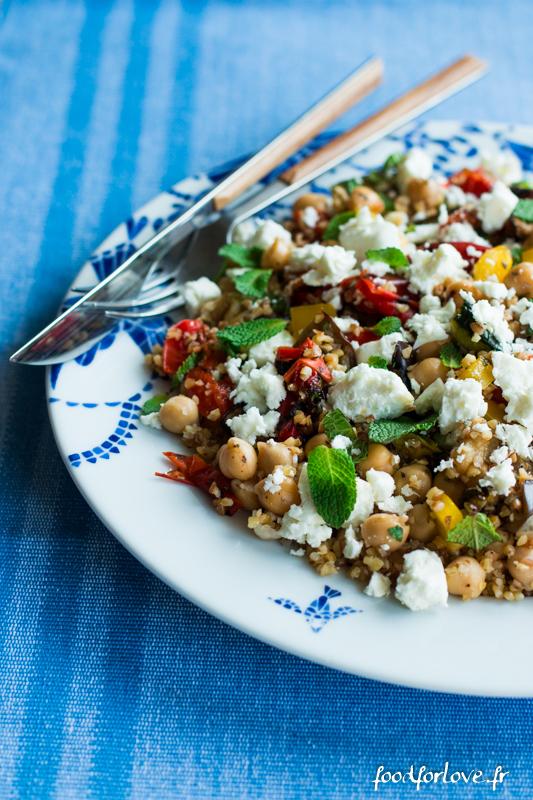 salade boulgour legumes grilles pois chiche feta menthe-12