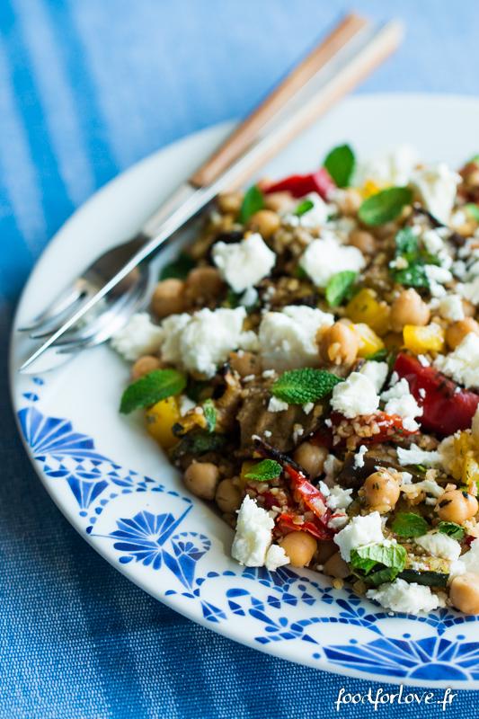 salade boulgour legumes grilles pois chiche feta menthe