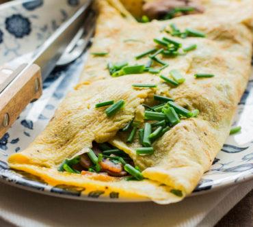 Omelette au Jambon, aux Champignons et Oignons