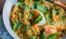 Curry de Patates Douces & Saint-Jacques à la Coriandre et au Beurre de Cacahuètes